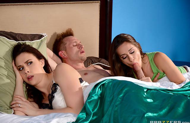 Пока жена спит, её сестра сосет член мужа