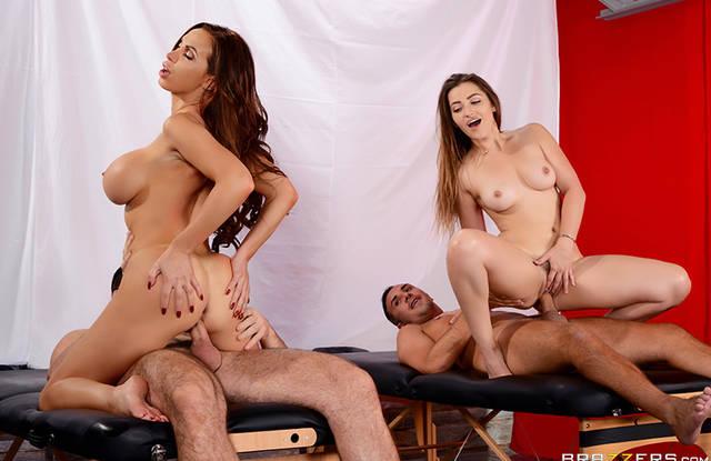 Brazzers - Красотки изменяет мужьям после массажа с активными пихарями